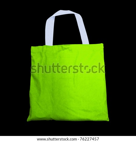 Green cotton bag - stock photo