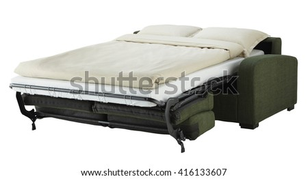 Green couch bed isolated on white include clipping path - stock photo