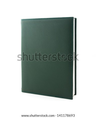 Green cover book isolated on white background - stock photo