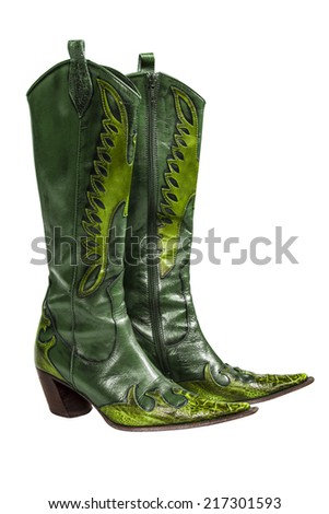 Green cowboy boots isolated on a white background - stock photo