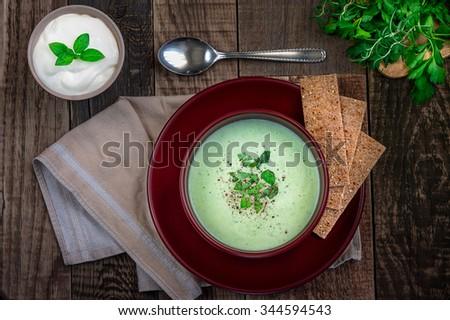 Green Cream Soup - stock photo