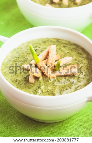 green cream soup with spinach and bread - stock photo