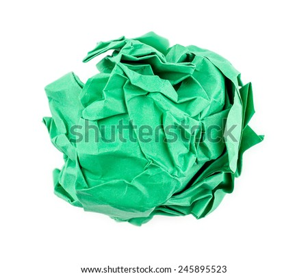 Green crumpled paper isolated - stock photo