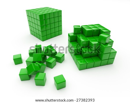 Green cube consisting of small cubes with incomplete structure - stock photo