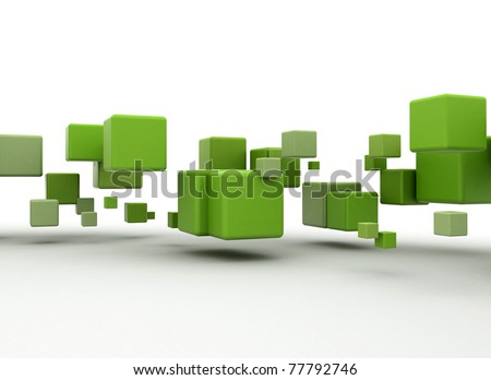 Green cubes flying - stock photo