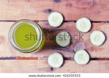 green cucumber juice - stock photo