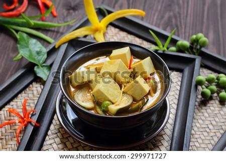 Green curry Tofu  vegetable food Thai style. - stock photo