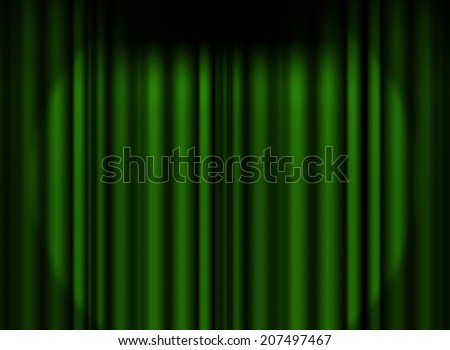 Green curtain stage with spot light background - stock photo