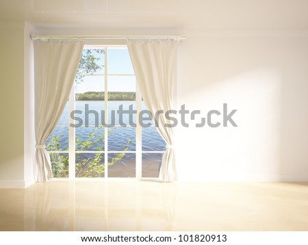 green curtains on the white wall - stock photo