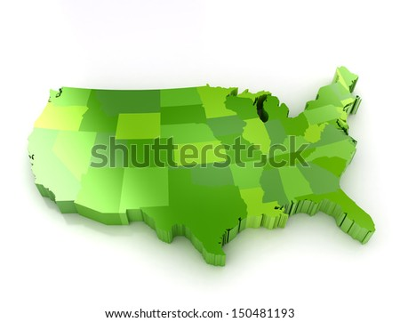 Green 3d map of usa on white background. Shadow and reflection. - stock photo