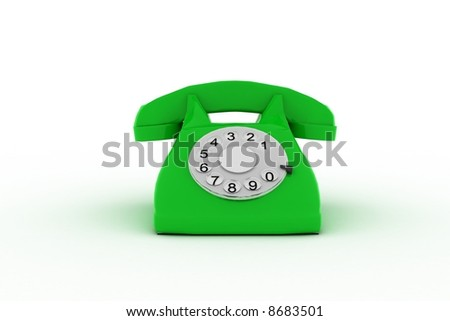 green 3d phone on white background - stock photo