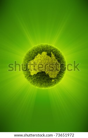 Green 3d planet concept, map of Australia - stock photo
