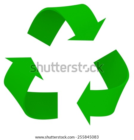 Green 3D Recycling Symbol - stock photo