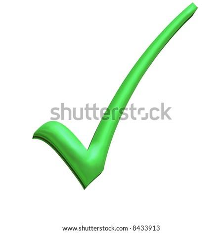 Green 3D tick perfect symbol of democracy - stock photo