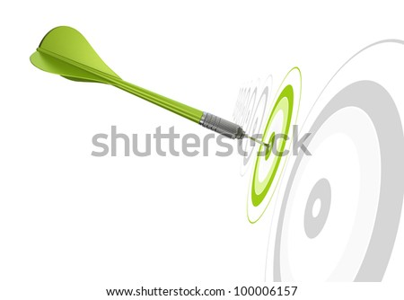 green dart hitting the center of a target, there is other grey targets in a row, white background - stock photo