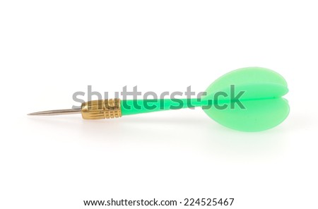 Green dart isolated on white background. - stock photo