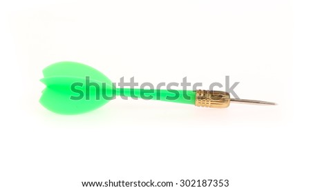 Green dart isolated on white background. - stock photo