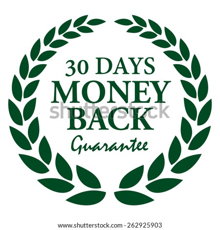 Green 30 Days Money Back Guarantee Wheat Laurel Wreath, Badge, Label, Sticker, Sign or Icon Isolated on White Background - stock photo