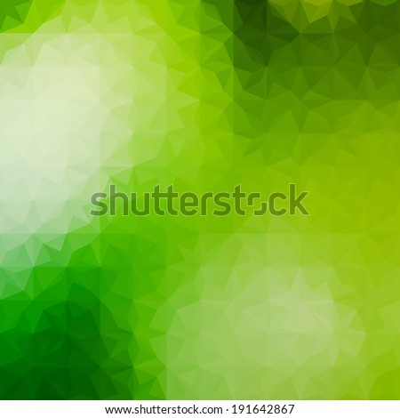 Green defocused background with geometric triangular ornament. Raster version - stock photo