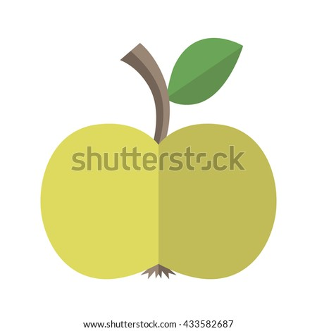 Green delicious ripe apple with leaf isolated on white. Flat style. Healthy natural food, diet, fruit, vitamin, juice and season concept - stock photo