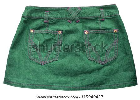 Green denim skirts - stock photo