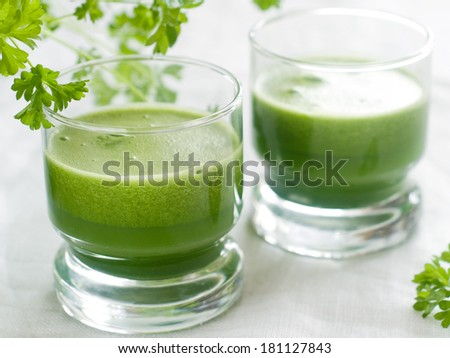 Green detox smoothie with cucumber, apple, spinach and ?elery, selective focus - stock photo