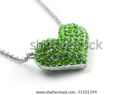 Green Diamond Heart - stock photo