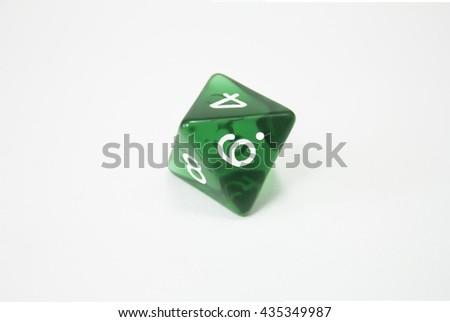 green dice d8 - stock photo