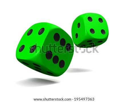 green dice, thrown on a white background - stock photo