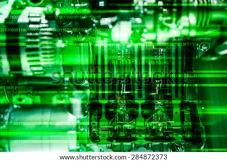 Green Digital background  - stock photo