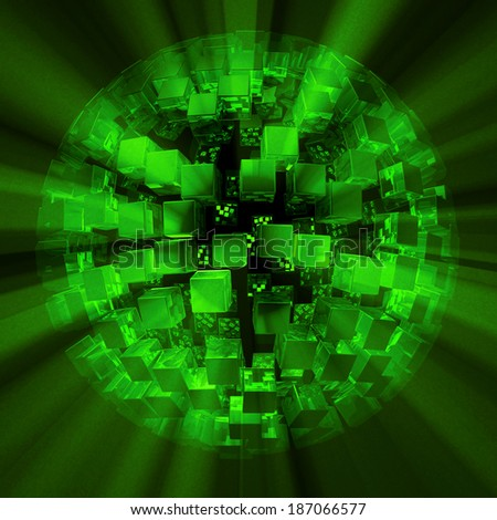 green disco ball matrix - stock photo