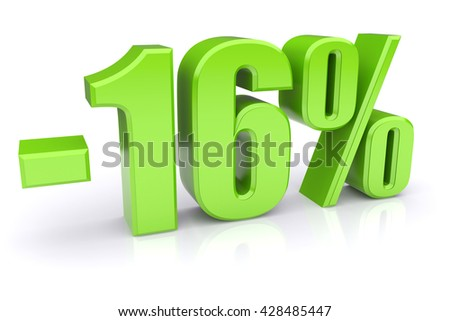 Green 16% discount icon on a white background. 3d rendered image - stock photo