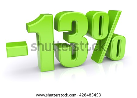 Green 13% discount icon on a white background. 3d rendered image - stock photo