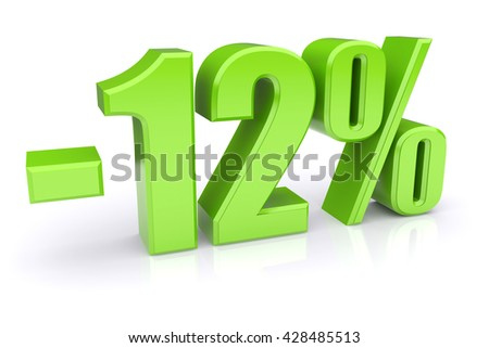 Green 12% discount icon on a white background. 3d rendered image - stock photo