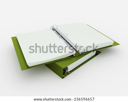 Green documents folder book rendered  - stock photo