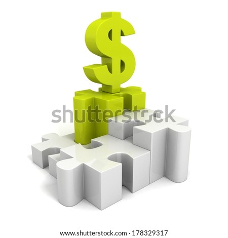green dollar currency symbol on jigsaw puzzle pie chart - stock photo