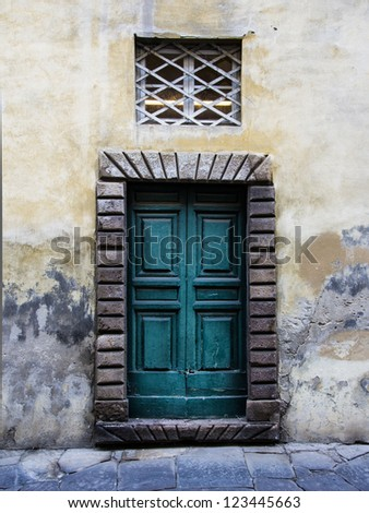 Green door - stock photo