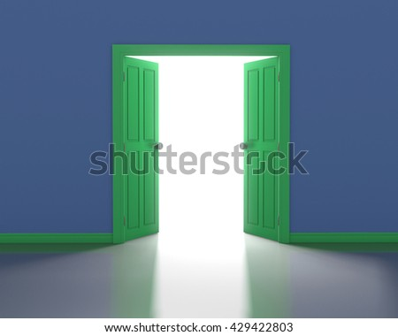 green door opening and blue wall interior 3d rendering - stock photo