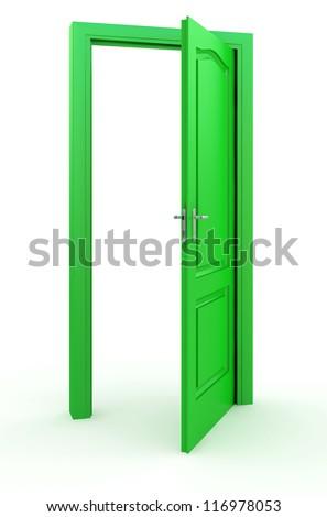 Green door standing free on a white floor - stock photo