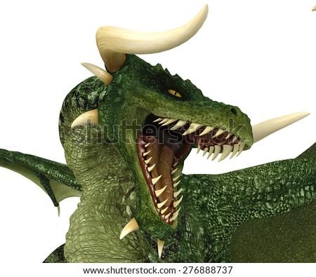 green dragon close up - stock photo