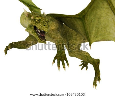 green dragon in action closer - stock photo