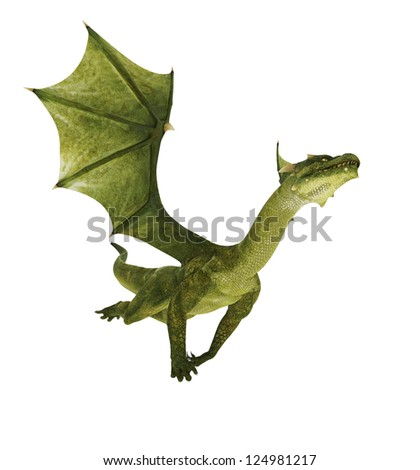 green dragon out - stock photo