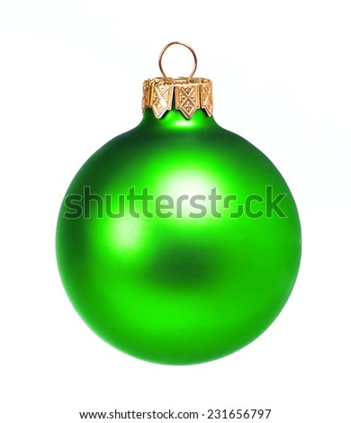Green dull christmas ball on white background - stock photo