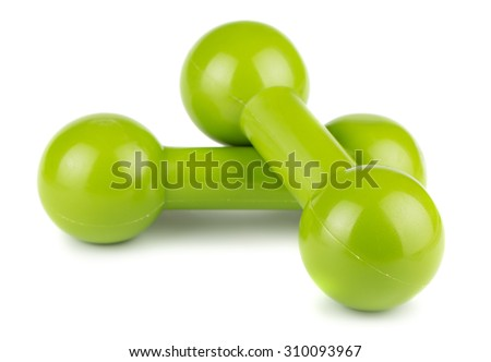 Green dumbbells for fitness isolated on white background - stock photo