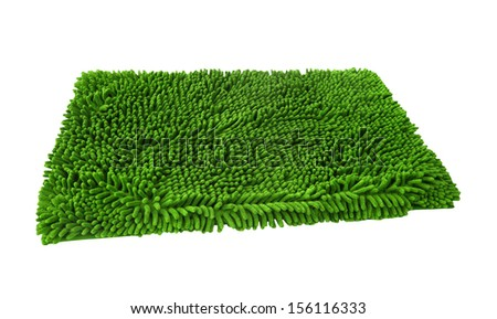 Green duster rag isolated on white - stock photo