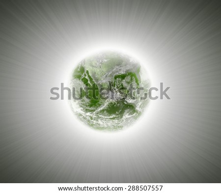 Green earth and light background , Elements of image are furnished by NASA - stock photo