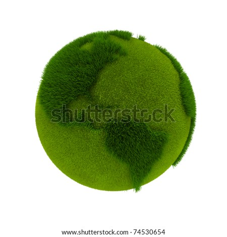 Green Earth. 3D rendering - stock photo