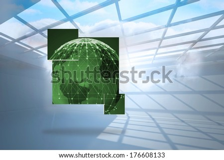 Green earth on abstract screen against room with holographic cloud - stock photo