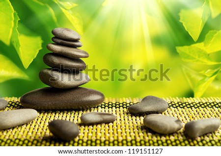 green eco background with spa stones and leaves with sunlight - stock photo
