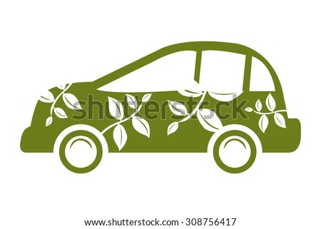 Green Eco Car Infographics Flat Icon, Sign Isolated on White Background - stock photo